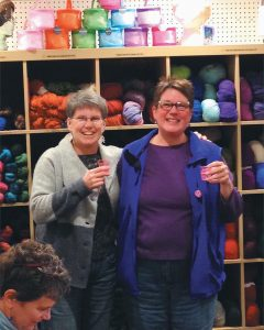 PATTY BRIGHT, left, and Susan Pennoyer, co-owners of the Mother of Purl Yarn Shop in Freeport.