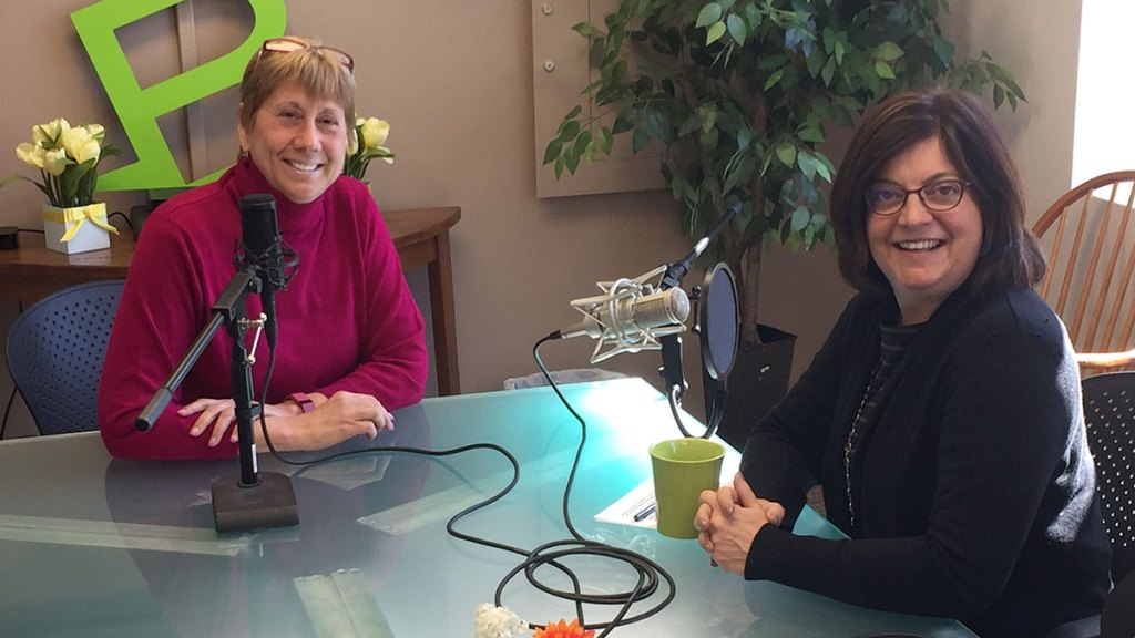 "Meredith Strang Burgess, President and CEO of Burgess Advertising and Marketing and Portland Press Herald President and C.E.O Lisa DeSisto record an episode of the ""Like a Boss"" Podcast series at the Burgess Advertising offices."