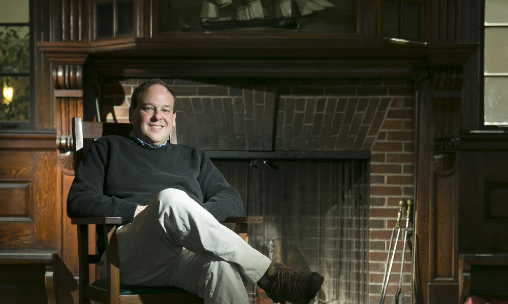 """Richard Rubin at Brunswick's Curtis Memorial Library, where he likes to write. The author of two books about World War I will be featured in the three-part documentary """"The Great War"""" on PBS' """"American Experience"""" beginning Monday."""