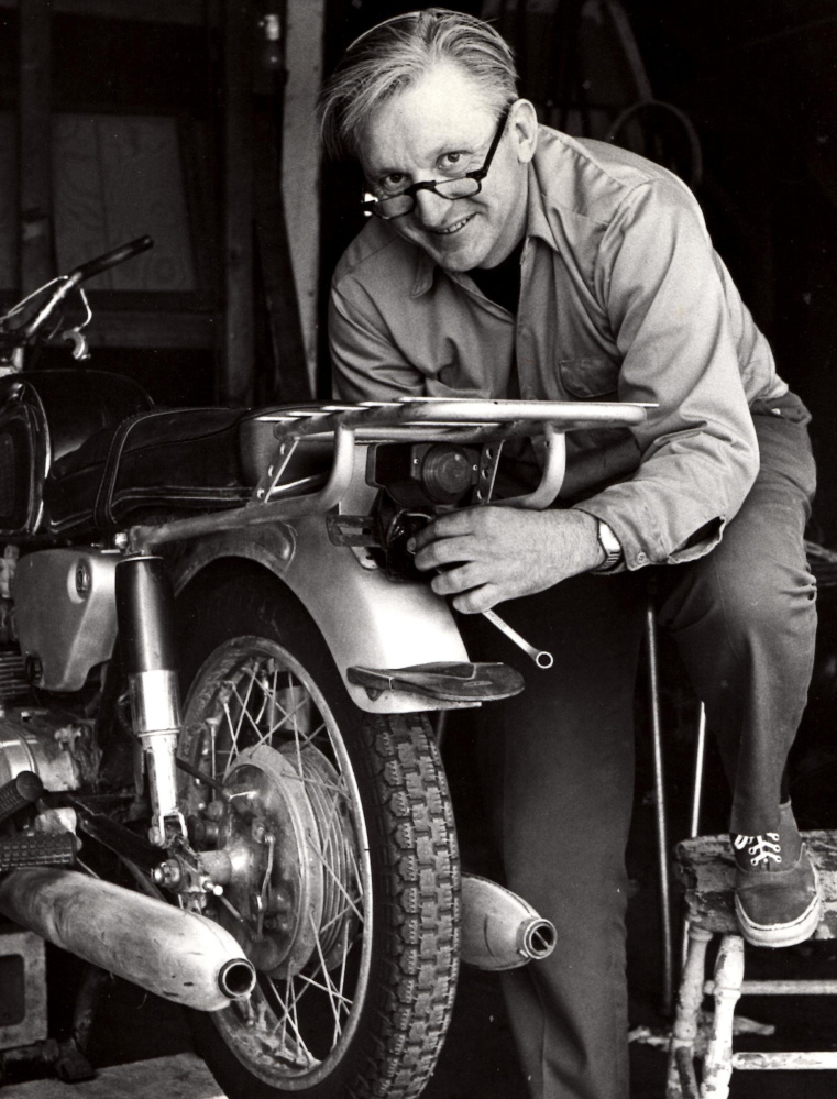 "Robert Pirsig works on a motorcycle in 1975. Pirsig, who wrote the classic ""Zen and the Art of Motorcycle Maintenance,"" lived in South Berwick for 30 years."