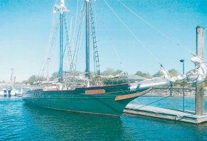 THE MARY E as she appears in port in Pelham, New York. A crew of four, including Maine Maritime Museum's Kurt Spiridakis, will sail her up to Bath later this month.
