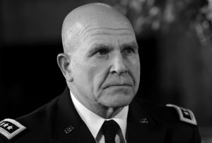 ARMY LT. GEN. H.R. MCMASTER listens as President Donald Trump makes the announcement at Trump's Mar-a-Lago estate in Palm Beach, Florida, that McMaster will be the new national security adviser. McMaster on Sunday left open the possibility of future U.S. military action against Syria speaking in his first televised interview but indicated that American forces would not act unilaterally to oust Syrian President Bashar Assad.