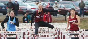 FORMER BRUNSWICK HIGH SCHOOL standout track athlete Allison Hill of Bates College, here running the 100-meter dash, competes in the NESCAC Championship this weekend at Bowdoin College.