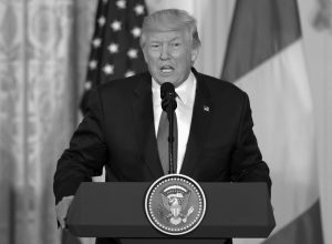 PRESIDENT DONALD TRUMP speaks during a news conference with Italian Prime Minister Paolo Gentiloni in the East Room of the White House in Washington, Thursday.