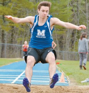 THE MORSE HIGH SCHOOL track and field team hosted Edward Little, Leavitt, Messalonskee and Mt. Ararat in a track meet at McMann Field on Thursday. In the photos, beginning at the top left and moving clockwise, Sydney McCarren (1) and Kelsea Albertson (4) run together in the girls 1600- meter race, Dominic Green prepares to land in the sand during the long jump, Haley Kinghorn jumps over a hurdle in the 110 hurdle event and Griffin Tibbitts rounds his first turn in the boys 1600 race. The Shipbuilders will next be in action on May 5, when they visit Cony for a meet with the Rams, Belfast, Leavitt, Mt. View and Winslow.