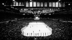 THE DETROIT RED WINGS and New Jersey Devils play during the first period of the final NHL hockey game at Joe Louis Arena on Sunday in Detroit.