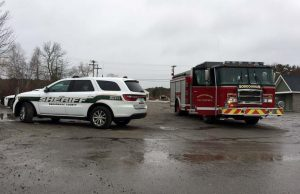 MEMBERS OF THE Sagadahoc County Sheriff's Department and Bowdoinham Fire Department respond to a suspected suicide at Mailly Waterfront Park in Bowdoinham on Tuesday.