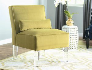 THIS IMAGE shows the Ralston Slipper Chair by Wayfair's exclusive brand Mercer41. The chair features acrylic legs.