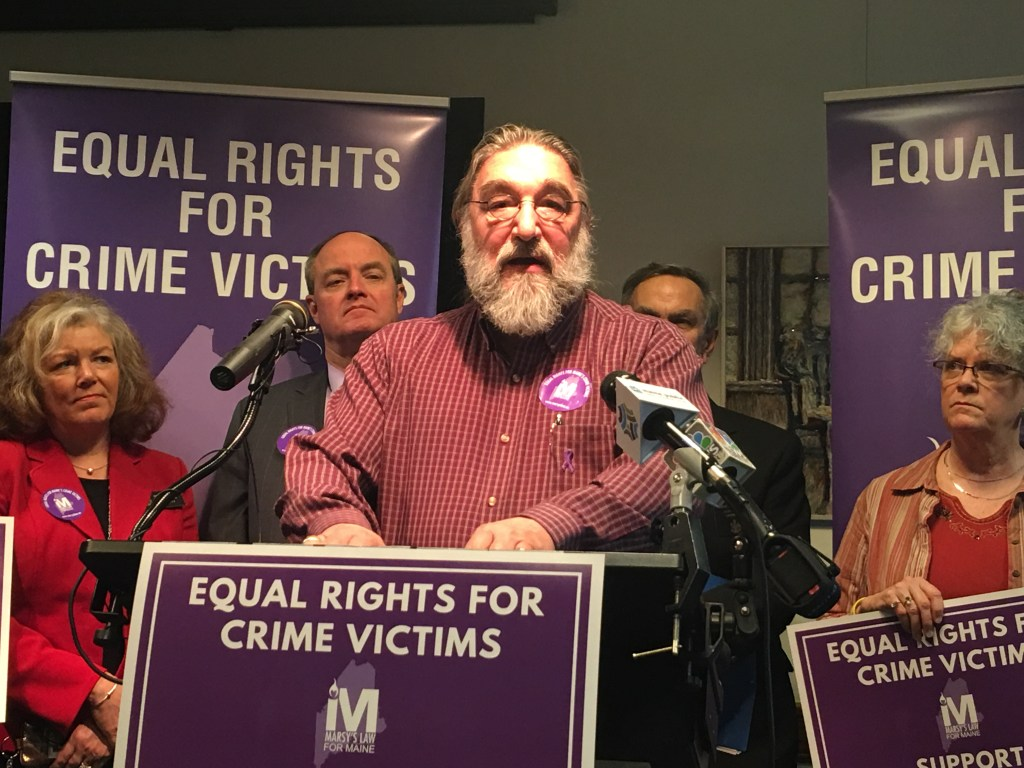 Arthur Jette, the leader of the Maine chapter of Parents of Murdered Children, speaks during a press conference at the State House in Augusta on Tuesday. Jette was offering his support for a state constitutional amendment that could go to voters this fall to ensure the rights of victims of crimes.