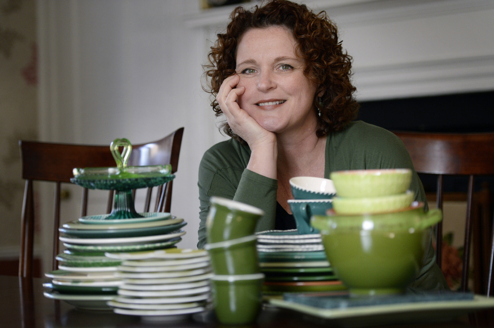 """Green Plate Special columnist Christine Burns Rudalevige says her china cabinet is """"sagging under the weight"""" of her collection of green plates. She buys them at """"flea markets, wherever I see them"""" and gets help from her daughter Eliza, too, """"a Goodwill shopper. She'll spend hours in there and find green plates for me."""""""