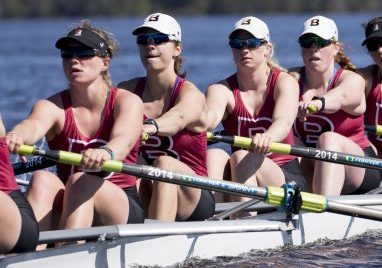 Olivia Stockly, fourth from the right, was drawn to rowing through her family – her mother is the Waynflete coach, and her older brother and sister competed. Her sister, Savannah, is a Bates College teammate, but is injured and won't row in the NCAA Division III finals Friday.
