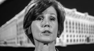 FORMER DEPUTY ATTORNEY GENERAL SALLY YATES speaks during a news conference at the Justice Department in Washington in 2016. An Obama administration official who warned the Trump White House about contacts between Russia and one of its key advisers is set to speak publicly for the first time about the concerns she raised. Yates is testifying today before a Senate Judiciary subcommittee investigating Russian interference in the 2016 presidential election.