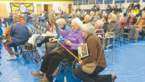 MARGARET GARDINER, 95, was awarded the Boston Post Cane by the Woolwich selectboard at the beginning of the town meeting on Saturday. The Boston Post Cane is a New England tradition continued by many municipalities that recognizes the town's oldest living resident.