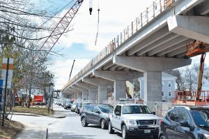 TRAFFIC ON VINE STREET below the Bath viaduct as seen earlier this month. Vine Street and Leeman Highway have been the two chief detours for traffic coming through Bath.