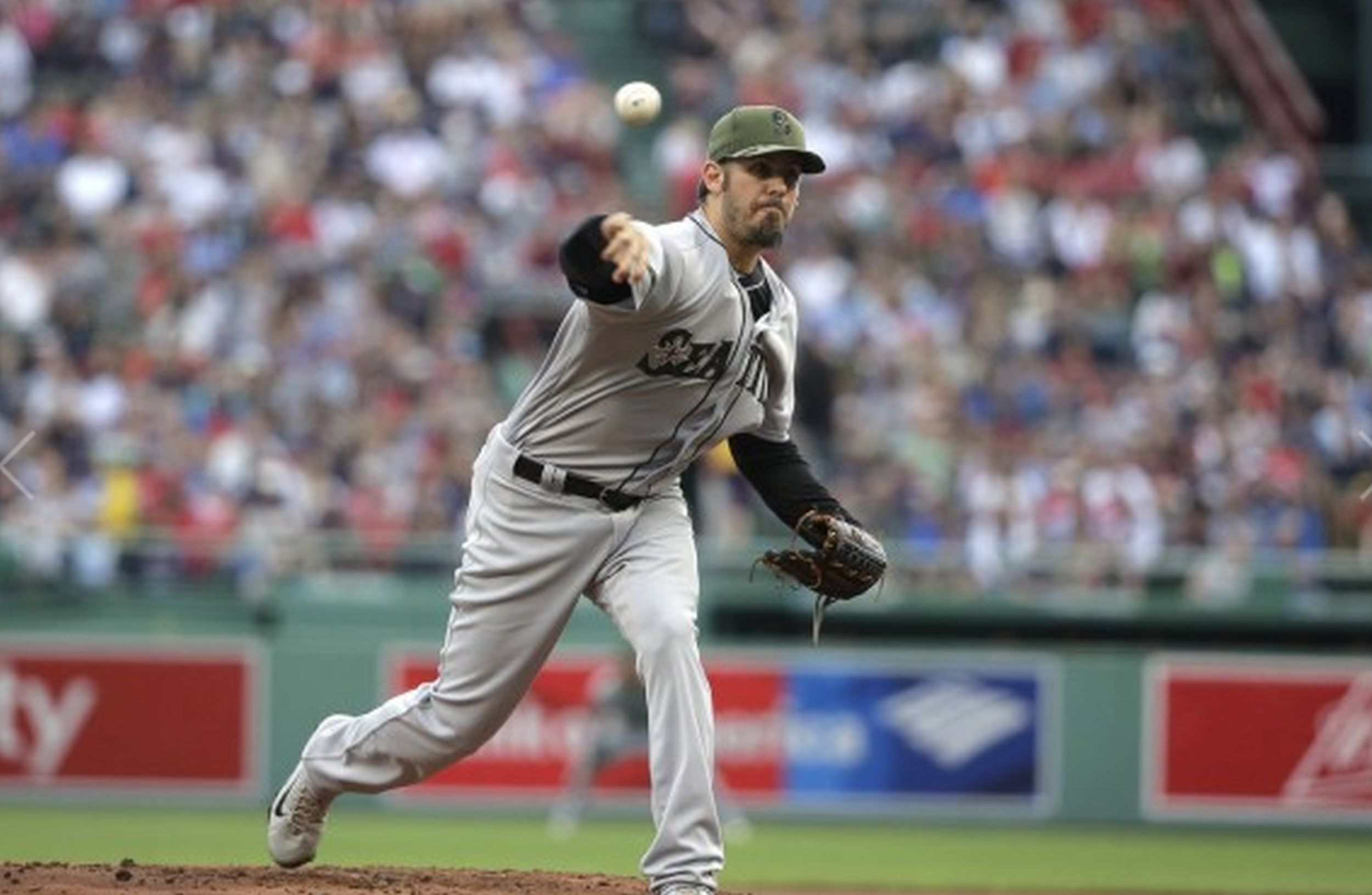 Seattle Mariners' Christian Bergman delivers a pitch against the Boston Red Sox in the first inning of a baseball game Sunday, May 28. AP WIREPHOTO/Steven Senne