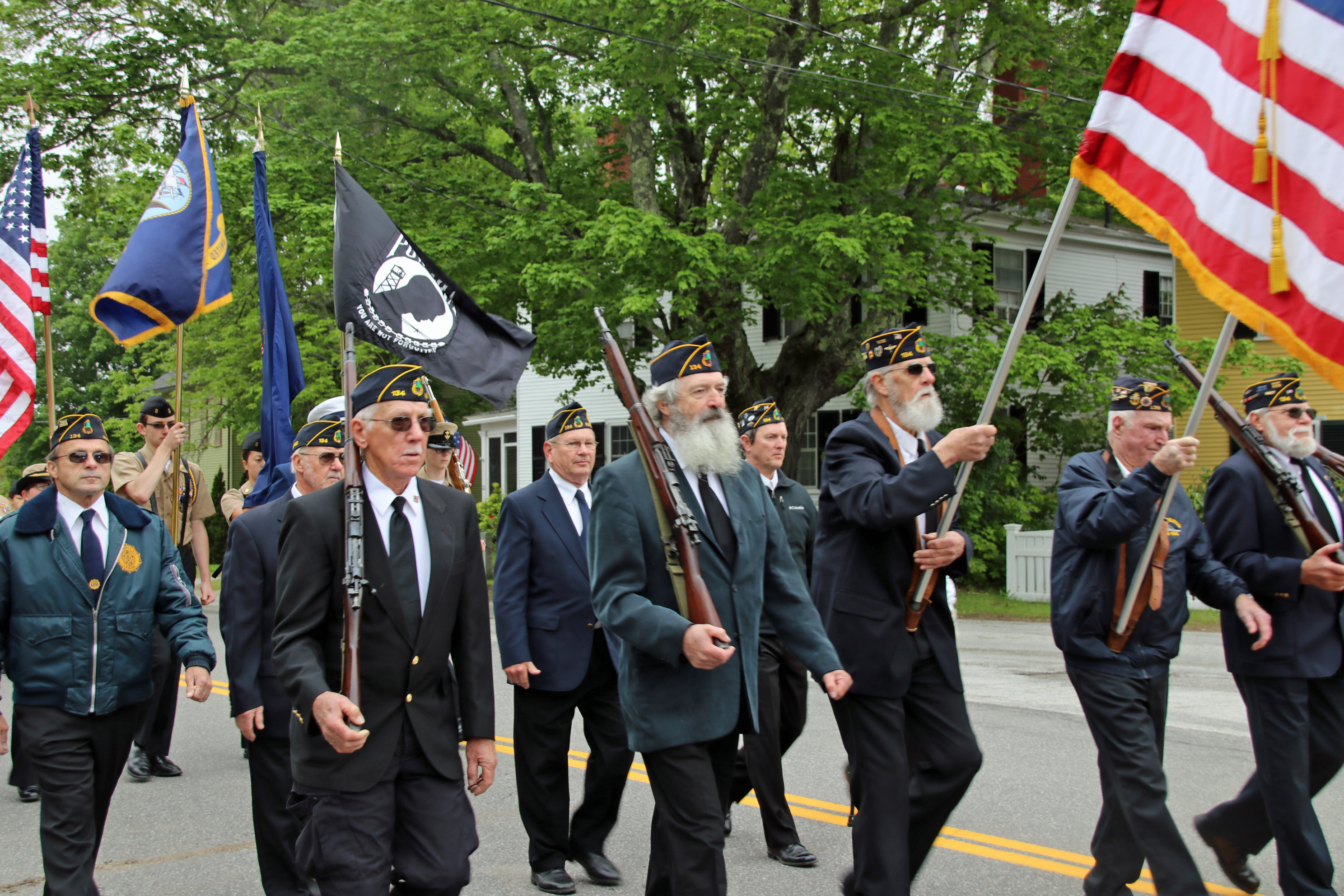 Veterans march in the Memorial Day parade this morning in Alfred. The parade and accompanying ceremonies are   hosted by Brown Emmons Post 134, American Legion, and alternate annually between Alfred and Waterboro. COURTESY PHOTO/Tammy Wells