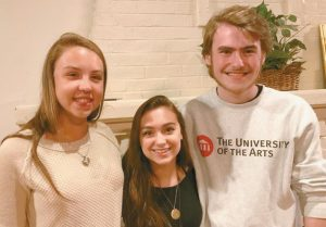 MORSE HIGH SCHOOL STUDENTS in the English classes of Johnna and Brian Stanton participated in a poetry slam in the Curtis Room of the Chocolate Church on May 25. Thirteen students performed original works; after three rounds of competition, three students (all seniors) emerged victorious (from left to right): Aliza Johnson (3rd), Emma Hill (2nd), and Aidan Smart (1st). Patten Free Library provided the prizes for the winning poets; each received a Gift of Bath certificate.