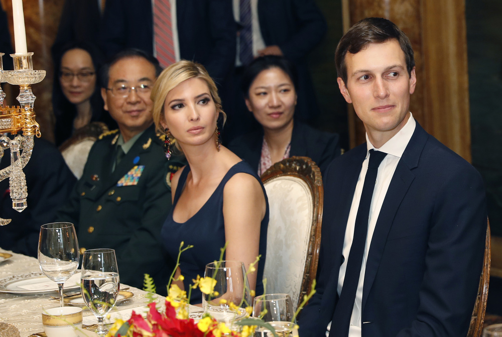 Ivanka Trump, center, is seated with her husband, White House senior adviser Jared Kushner, right, during a dinner April 6 with President Trump and Chinese President Xi Jinping at Mar-a-Lago in Palm Beach, Fla.