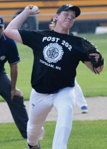 POST 202 pitcher Devin Tobin delivers a pitch at Mt. Ararat High School on Wednesday.