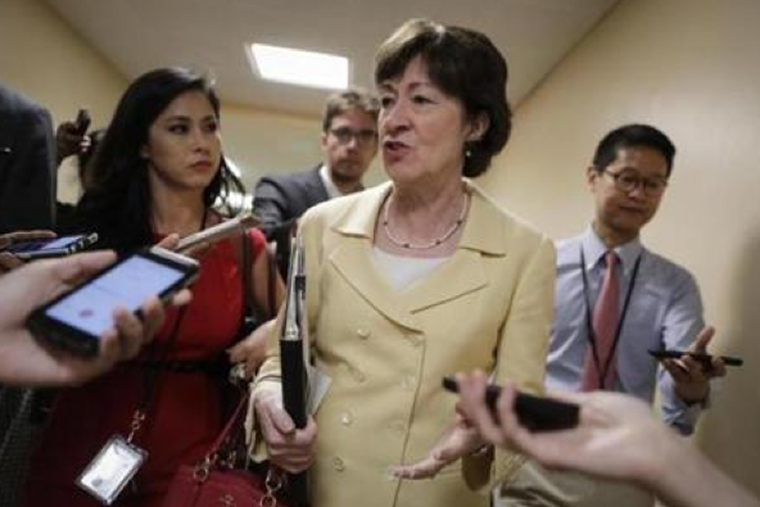 Republican Maine U.S. Senator Susan Collins speaks to reporters last week in Washington. Collins has announced her opposition to the Senate Republican's health care revision proposal. AP WIREPHOTO/J. Scott Applewhite