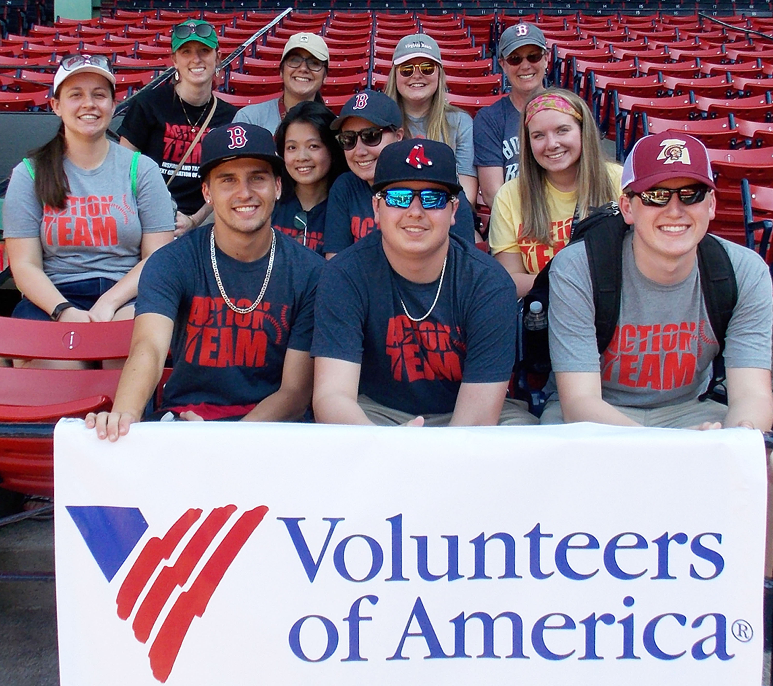 Action Team members sit with their advisors during batting practice. Front, from left, are: Noah Logan, Justin Logan, and Ethan Logan. Second row, from left, are: Elizabeth Roy, An Vu Thien Ho, Molly Jacques, and Adella Page-Ryea. Third row, from left, are: advisor Kaitlyn Hall, Annie Karim, Kayla Strout, and advisor Mary Ann Martin. LINDSEY HALL/Journal Tribune