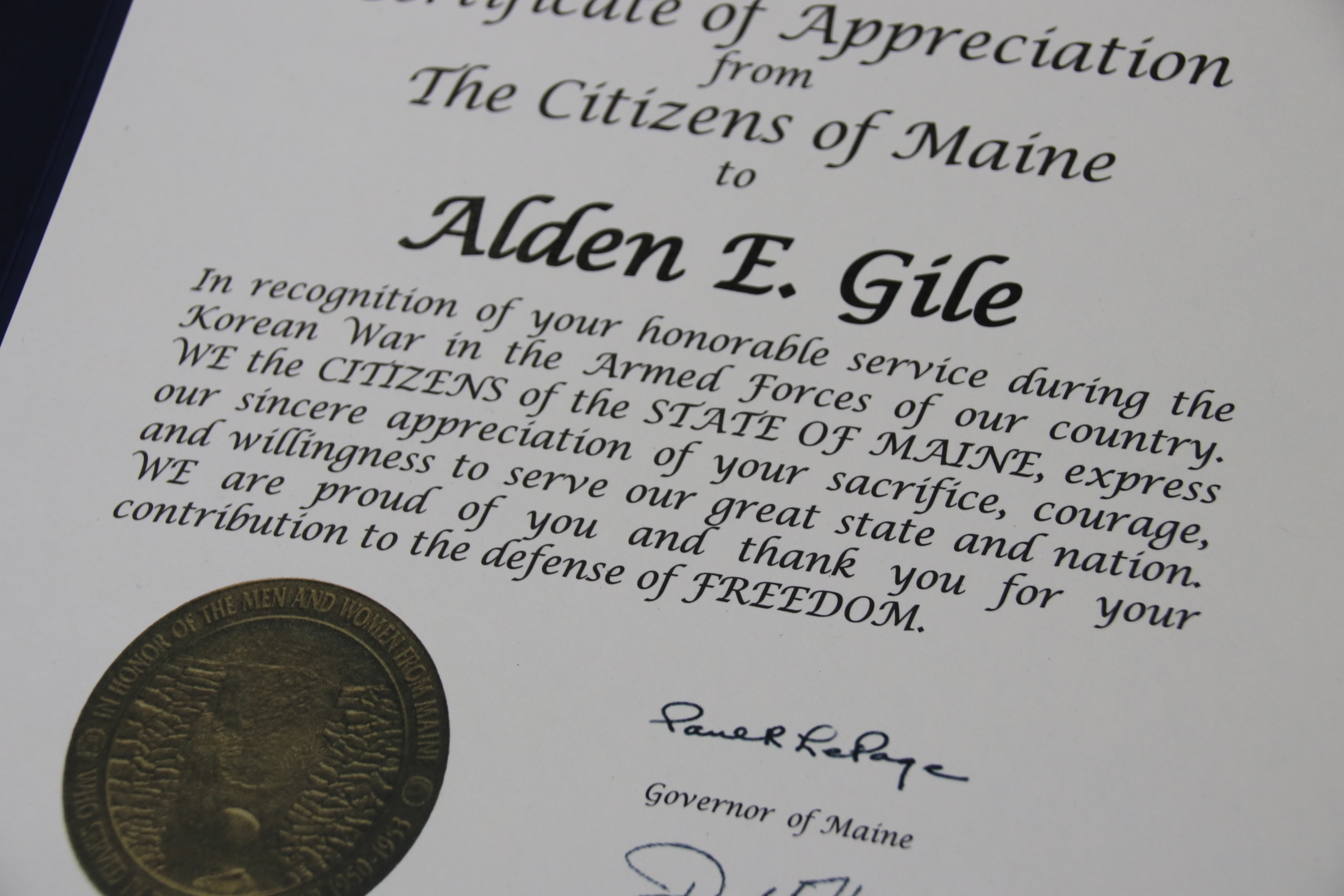 Alden Gile of Alfred was among several area veterans of the Korean War to receive certificates of appreciation and commemorative coins from the state of Maine  in a ceremony Wednesday at the Sanford VFW Post 9935. World War Ii veterans received similar certificates and coins commemorating that war. TAMMY WELLS/Journal Tribune