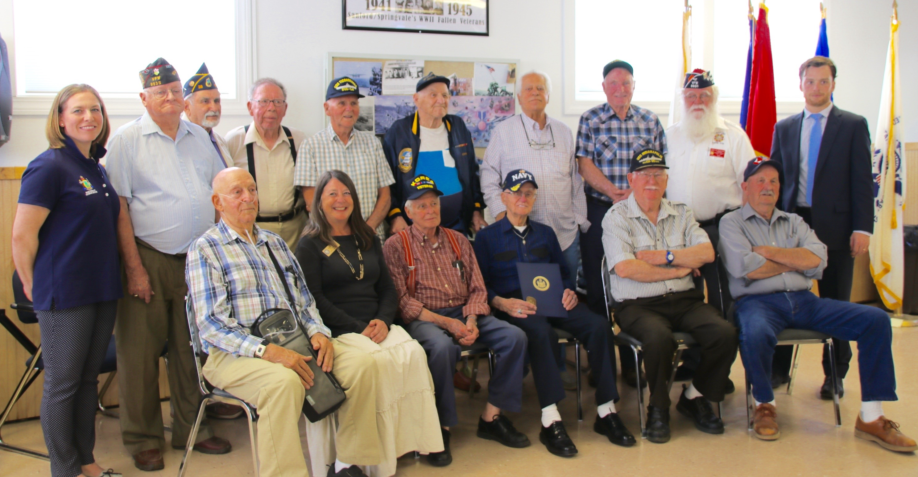 A number of Sanford and area World War Ii and Korean War veterans, congressional aides, organizers and representatives from the Maine Bureau of Veterans Services paused for a photo at the VFW hall in Sanford Wednesday after the veterans received commemorative coins and certificates from the state of Maine, thanking them for their service. TAMMY WELLS/Journal Tribune