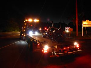 The driver of a Harley Davidson motorcycle was seriously injured in collision with an SUV on Route 196 in Topsham Wednesday night. DARCIE MOORE/THE TIMES RECORD