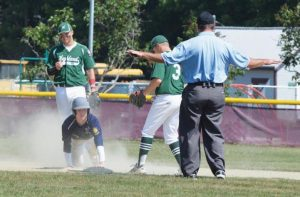 ZONE 3 UNITED'S Chris Romano, center, is safe at second on a stolen base as Highland Green fielders Nick Merrill, left, and Garrett Moody (3) look on in the first game on Saturday.