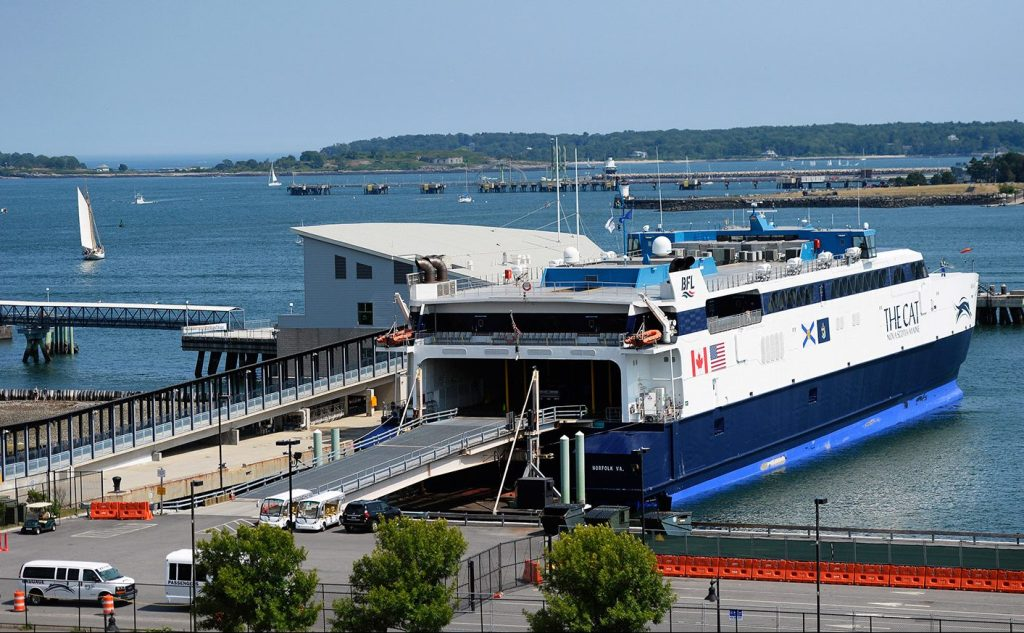 The Cat is docked at the Ocean Gateway terminal in Portland on Aug. 1. Upgrades required by U.S. Customs and Border Protection would cost the city $6 million to $7 million,  a city spokeswoman says.