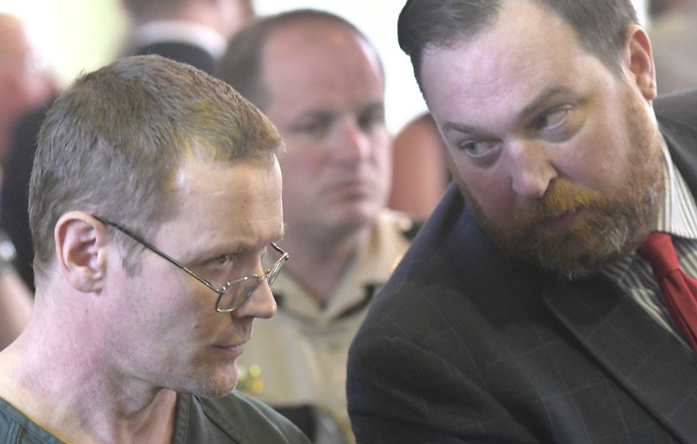 Michael Sean McQuade, left, confers Tuesday with his attorney, Andrew Wright, while entering a plea of guilty to a felony murder charge at Lincoln County Superior Court in Wiscasset.