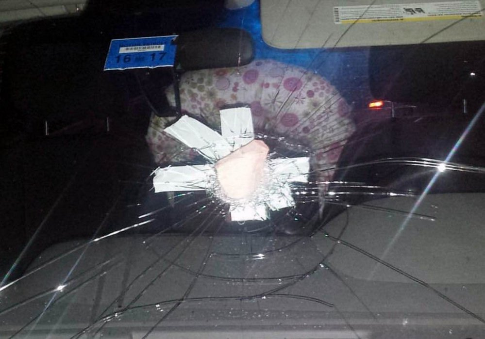 Police are looking for those responsible for sending a baby to a hospital after a vehicle was hit with a rock while traveling down Interstate 95 in Sidney Wednesday evening.