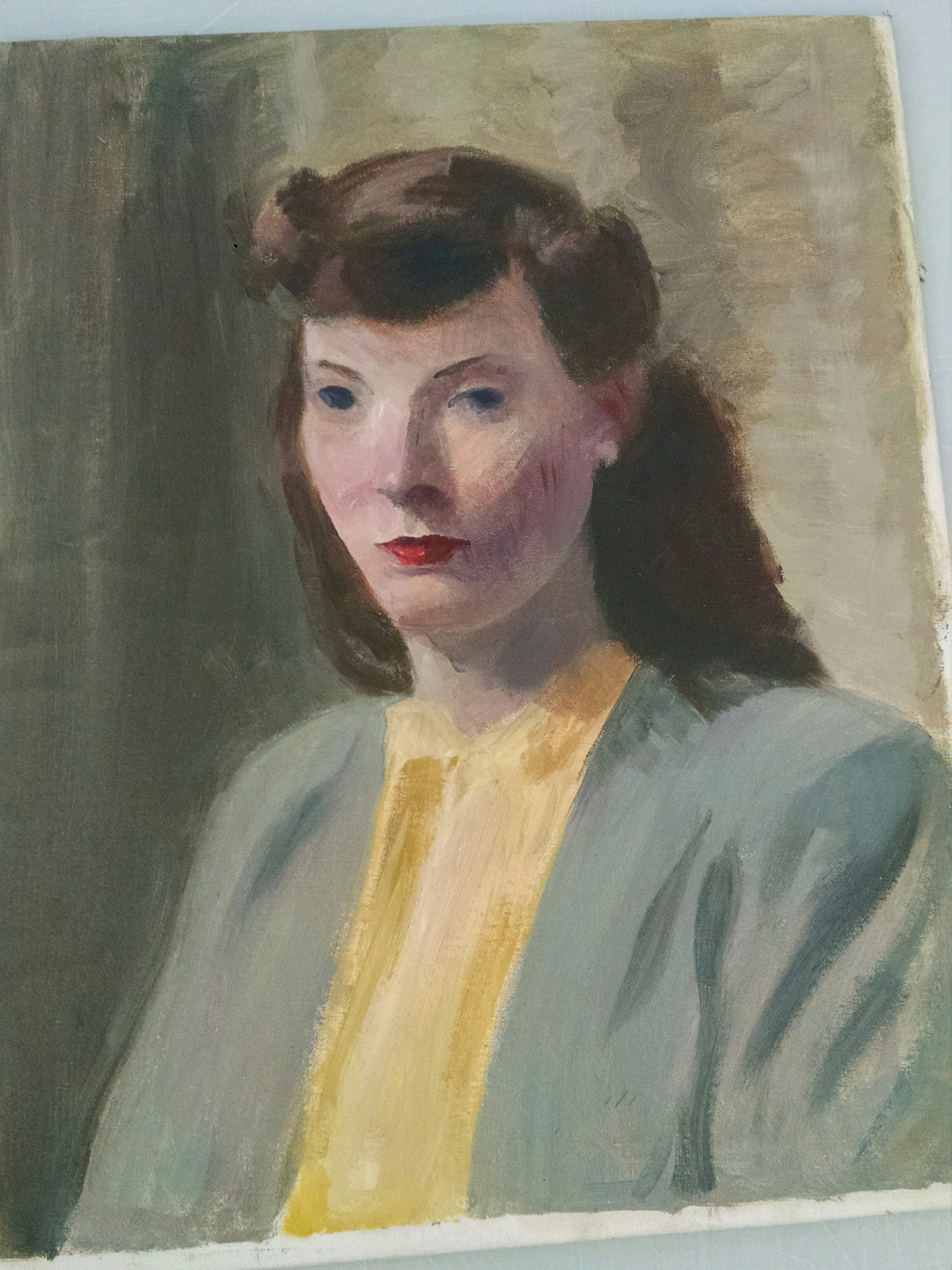 Found underneath another painting by artist Edith Barry was this unfinished portrait. The painting was discovered when the frame of the other artwork was removed. SUBMITTED PHOTO