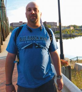JOHN BRUBAKER of North Yarmouth finished his 50-mile walk to raise money for a nonprofit organization that supports the families of police officers killed in the line of duty.