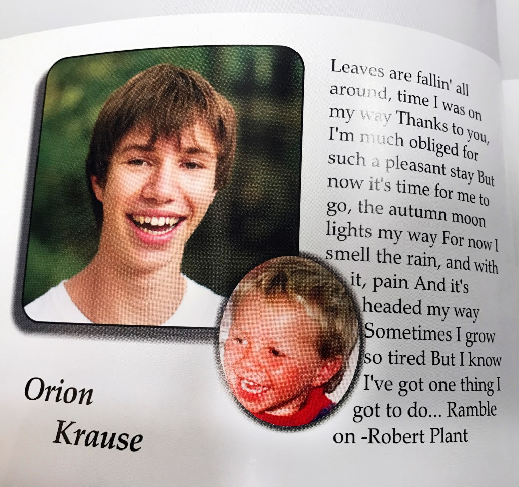 """Orion Krause as a senior in the Camden HIlls Regional High School 2013 yearbook. The quote is from a song by the rock band Led Zeppelin called, """"Ramble On."""""""