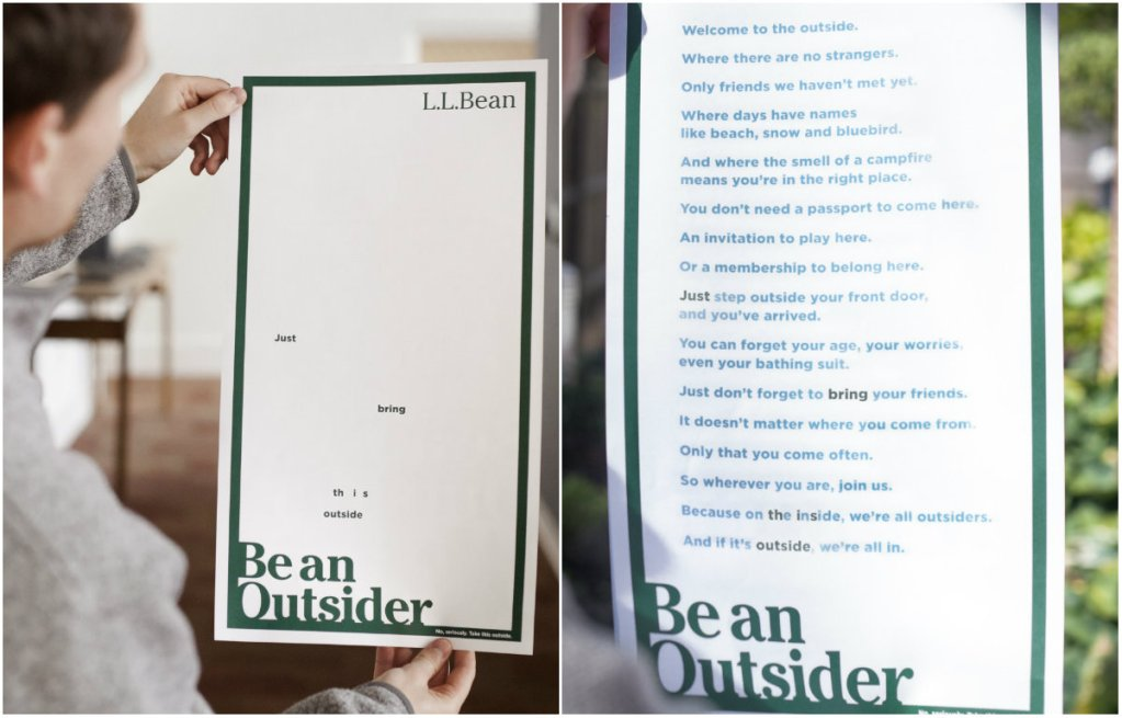 The VIA Agency in Portland  developed this ad for L.L. Bean that is only visible in sunlight.