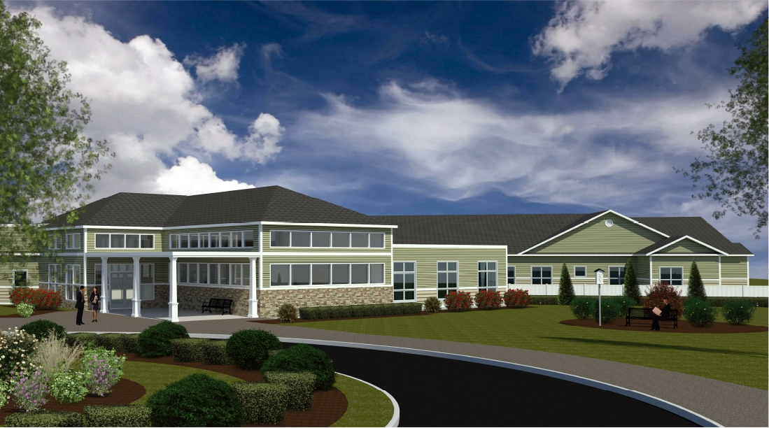 An artist's depiction shows the new, 90-bed nursing home and rehabilitation center planned to be built on the grounds of the Southern Maine Health Care Campus in Sanford. SUBMITTED PHOTO