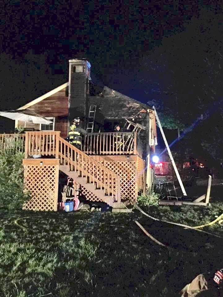 Three people escaped injury early Tuesday when fire broke out at their home on Northland Road in North Waterboro. COURTESY PHOTO/Waterboro Fire Department