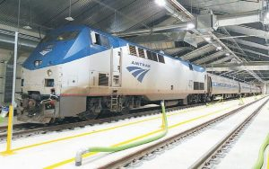 AN AMTRAK DOWNEASTER TRAIN inside the Brunswick Layover Facility. The Downeaster's rail authority wants to explore expanding service northward next year.