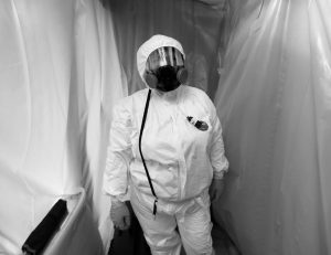 ASBESTOS REMOVAL TECHNOLOGIES INC., job forman Megan Eberhart wears protective gear for asbestos abatement in Howell, Michigan. Spurred by the chemical industry, President Donald Trump's administration is retreating from a congressionally mandated review of some of the most dangerous chemicals in public use: millions of tons of asbestos, flame retardants and other toxins in homes, offices and industrial plants across the United States.