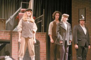 """MEMBERS OF THE CAST of the Lisbon High School production of """"Sweeney Todd"""" in the left photo. On the right, Arianna Thibeault as Mrs. Lovett, along with one of Sweeney Todd's victims during rehearsal at Lisbon High School."""