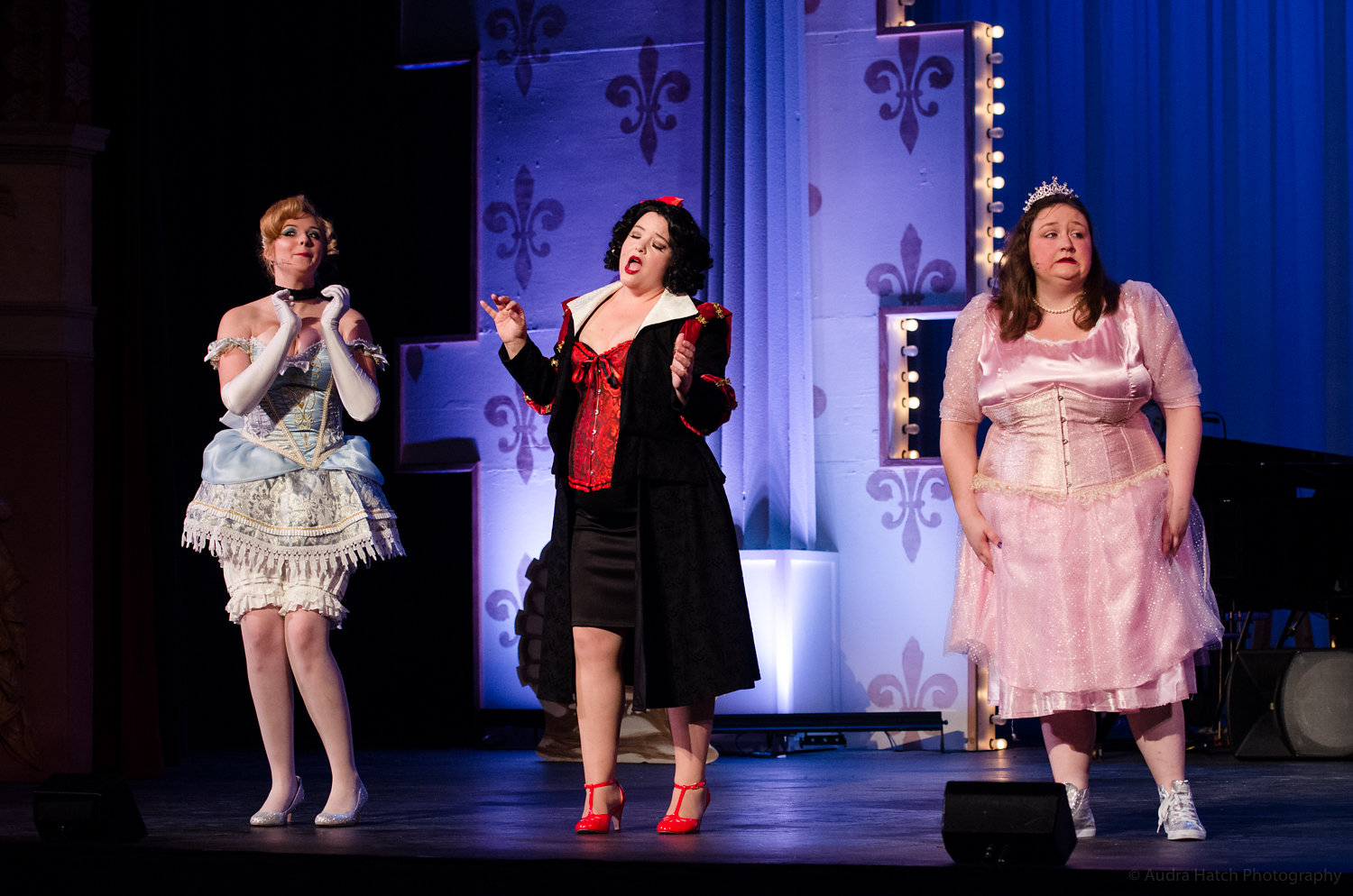 Joanna Clarke (Cinderella), Kelly Caufield (Snow White) and Sarah Thurston (Sleeping Beauty) onstage during a dress rehearsal for 'Disenchanted.' The musical opens at the Biddeford City Theater tonight at 7:30 p.m. COURTESY PHOTO/Audra Hatch.