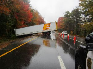 The driver of a tractor trailer truck was not injured after the truck jackknifed on Route 1 northbound a short distance beyond the Cook's Corner exit in Brunswick Monday. PHOTO COURTESY OF BRUNSWICK POLICE DEPARTMENT
