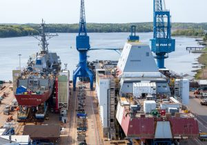 Bath Iron Works, pictured in this file photo, will compete to build a new class of frigate for the U.S. Navy. (Dave Cleaveland/Maine Imaging via Bath Iron Works)