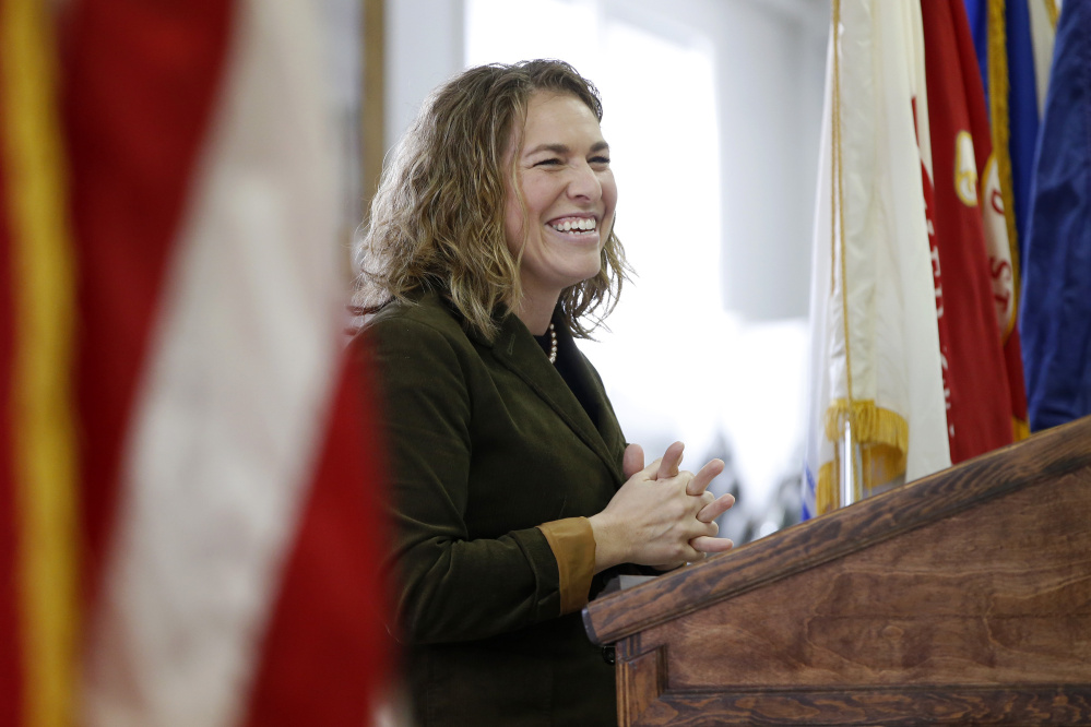Adria Horn, director of the Maine Bureau of Veterans Services, speaks at a lunch to recognize female veterans at VFW Post 9935 in Sanford.