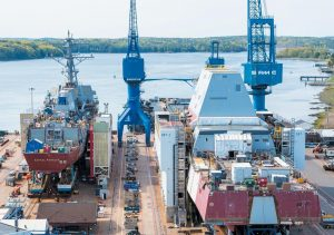 SHIPS UNDER CONSTRUCTION at Bath Iron Works.