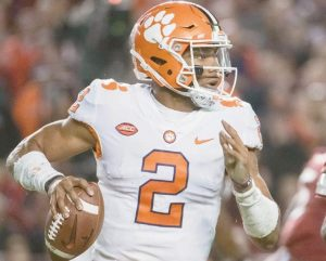 CLEMSON quarterback Kelly Bryant (2) scrambles from the pocket against South Carolina during the first half of an NCAA college football game on Saturday in Columbia, S.C.