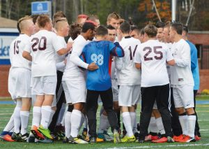 THE RICHMOND HIGH SCHOOL boys soccer team gets fired up prior to facing Buckfield in the Class D South regional final at Bath recently. The Bobcats downed the Bucks, 2--0, to advance to the State Class D championship, falling to Bangor Christian, 1-0.