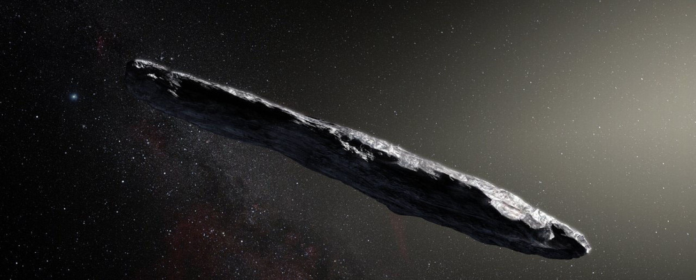 An artist's impression of the first interstellar asteroid, 'Oumuamua. The rare object is about a quarter-mile long.