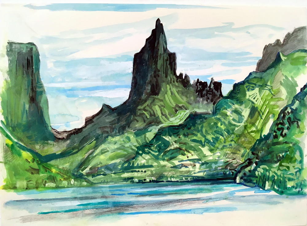 """""""Moorea"""" by Alan Fishman. Below left, Alan Fishman paints on site in France. Right, Marcie Bronstein leads a watercolor class with a gorup of students during a recent cruise."""
